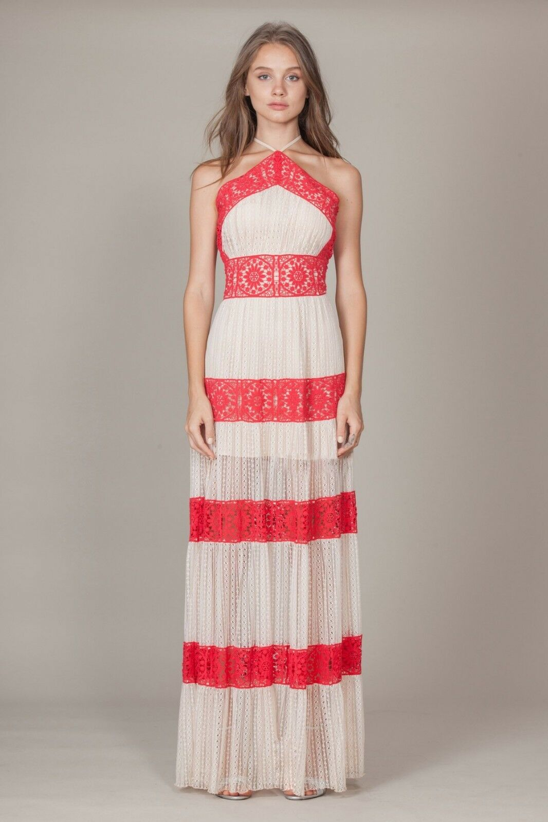 FOXIEDOX Coral Red Nude Ophelia Two-Tone Lace Halter Sporty Maxi Dress M 4 6 NEW