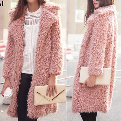 Vintage Womens Winter Parka Faux Fur Long Sleeve Jacket Coat Fluffy Outwear Top
