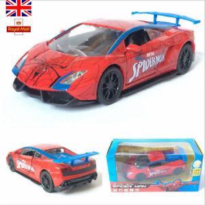 Lamborghini-Gallardo-Marvel-Spider-Man-Diecast-Cars-Pull-Back-Sound-Kids-Toys