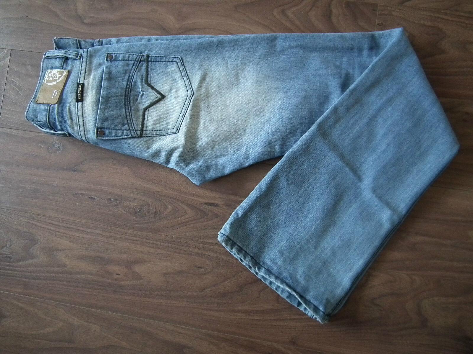 DIESEL Industry Denim Blu Scoloreito da uomo ROODY Jeans dritti PANTALONI W29 L34