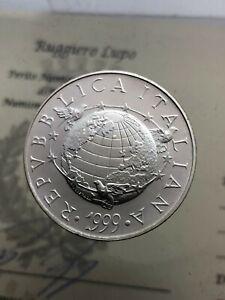 5-000-Livre-die-Terra-1999-FDC-Ag-der-Republik-Italienisch-Gedenkmuenzen-Nach