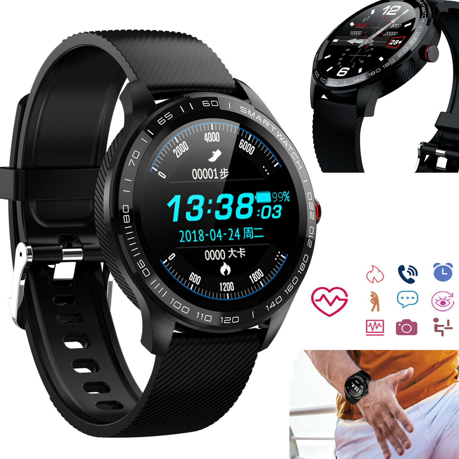 Smart Watch Heart Rate Monitor Wristwatch for Samsung S9 S10 A10 A9 LG G6 G7 G8 a10 Featured for heart monitor rate s10 samsung smart watch wristwatch