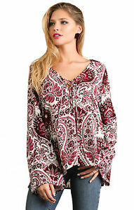 UMGEE-Womens-Floral-Bohemian-Flowy-Boho-Long-Bell-Sleeve-Chic-Top-Blouse-S-M-L