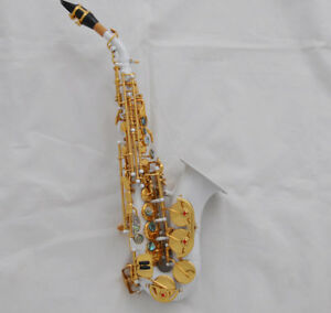 Prof-white-lacquer-curved-soprano-sax-saxophone-High-F-abalone-keys-with-case