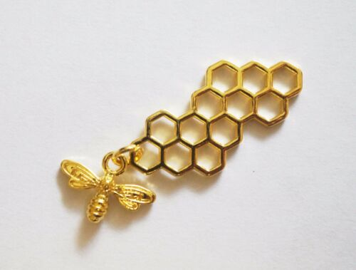 2 Bee and Honeycomb Charms 46mm Metal Gold Plated