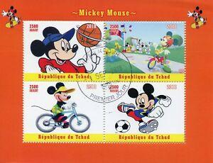 Chad-2018-CTO-Mickey-Mouse-Disney-Basket-CALCIO-4v-M-S-FRANCOBOLLI-cartoni-animati