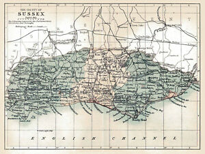 An Enlarged Map Of The County Of Sussex England Original Dated1882