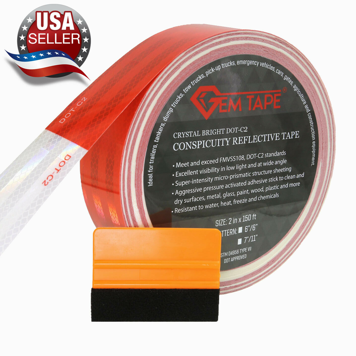 DOT Trailer Reflective Tape Red White Day-Bright Outdoor Waterproof Reflector