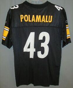 fda19421 Details about Reebok Pittsburgh Steelers Troy Polamalu #43 NFL Jersey Size  Youth Large 14-16