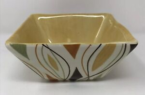 Pier-1-Imports-Alvarado-Square-Soup-Cereal-Bowl-Gold-Red-Green-Geometric-Pattern