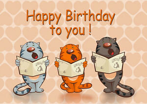 d motion lenticular postcard cats singing happy birthday to you, Birthday card