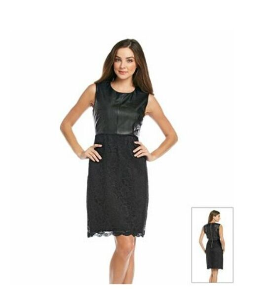 75af59eab28c4 Calvin Klein  Black Size 6 Faux Leather   Lace Skirt Sleeveless Dress ( )  for sale online