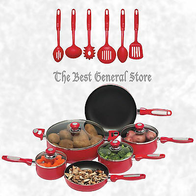 16pc Red Pots and Pans Aluminum Cookware Set Non-Stick with Vented, Glass Covers