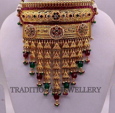 22 K Yellow Gold Bollywood Style Necklace Set Rajputi Razwadi Fit
