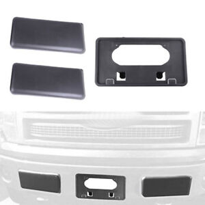 Front Bumper Guards Pads /& License Plate Bracket Tag Set for Ford F150 2009-2014
