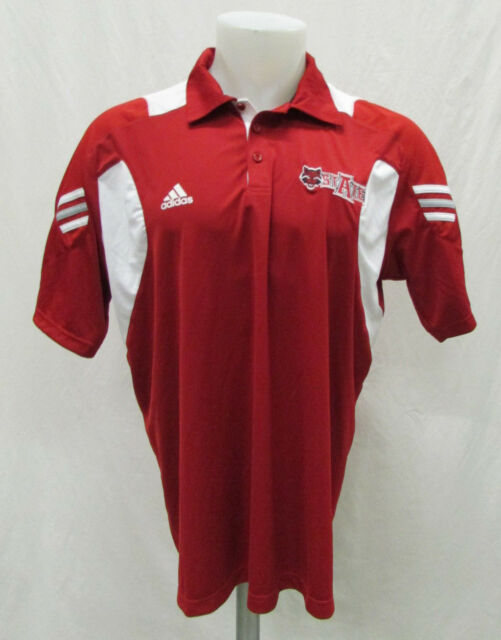 wholesale dealer d09fb d0a22 Arkansas State Red Wolves Men L Adidas Climacool Polo Shirt NCAA