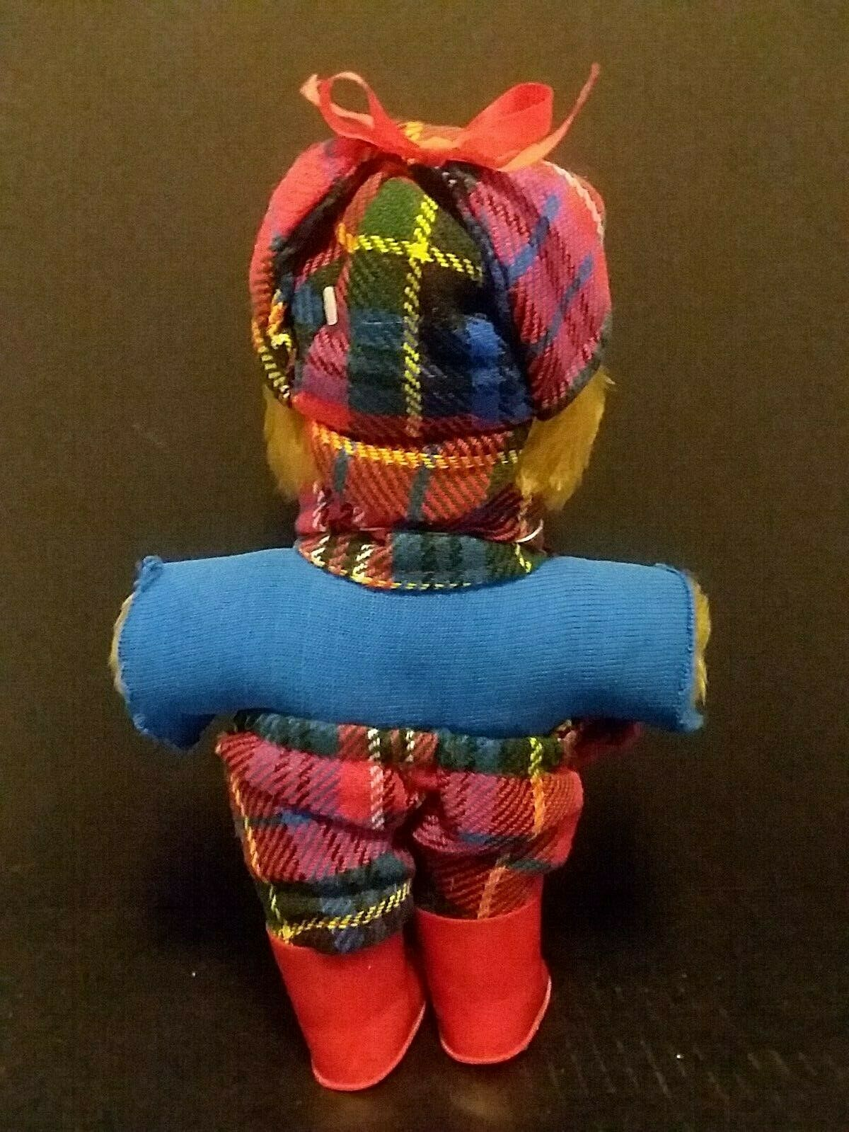 WELLIE BEAR GANG VINTAGE PLUSH LAURA LAURA LAURA GRANT MADE IN SCOTLAND 10'' Red bluee Plaid c9a022