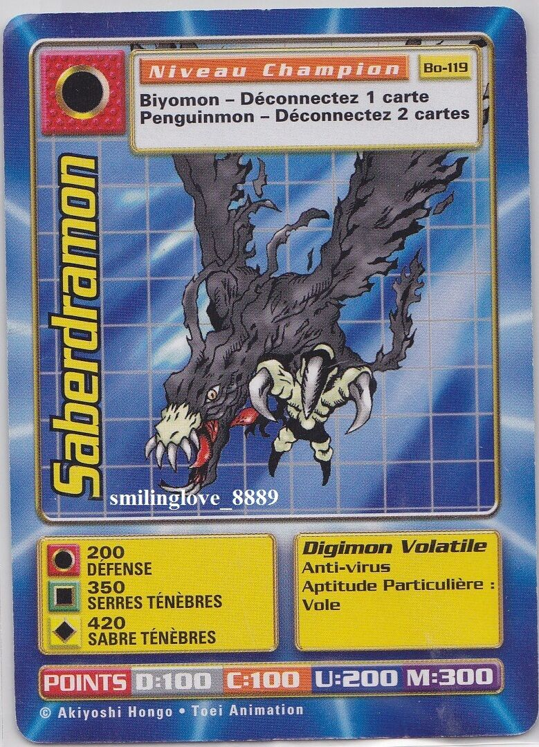 FRANSKA DIGIMON DIGI-slåss CARD spel- BOOTER serier 3- Bo-119 SABERDRAMON