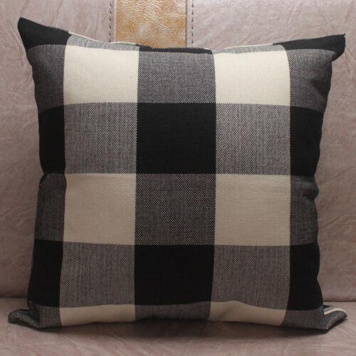 Motif Écossais classique LIN PLAIN Housses De Coussin Pour Canapé Maison Décoration Pillow Cases