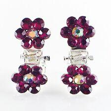 MINI Hair Claw Clip Rhinestone Crystal Hairpin Bridal Wedding Flower Purple 03