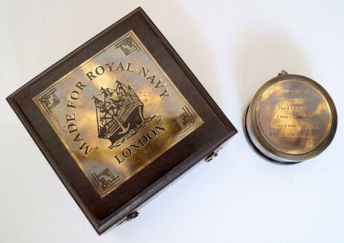 Antique Brass Vintage Measuring Inch Tape Desktop Item With Rosewood Wooden Box