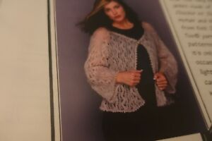 Knit One Crochet Too Knitting Pattern Filigree Lace Jacket 34 58 Ebay