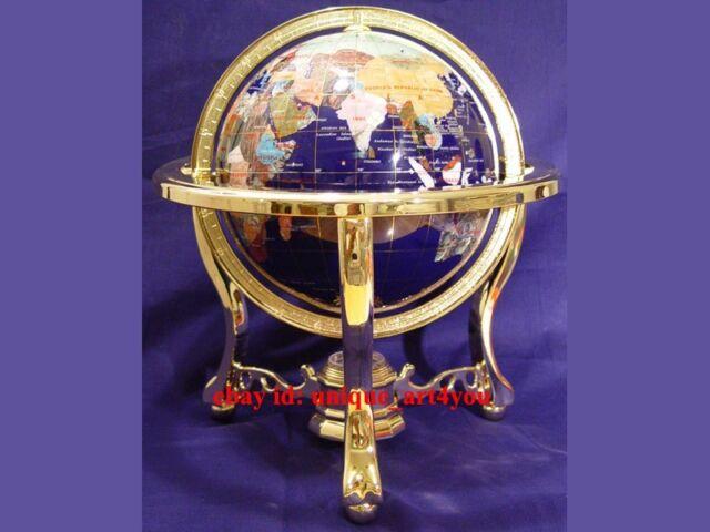 "14"" blue lapis ocean Gold 3- leg table stand Gem MOP Gemstone World MAP globe"