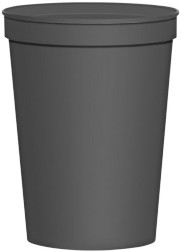 10 Charcoal Gray Blank Stadium Cups Grey Plastic Cups 16 oz Plain Party Cup