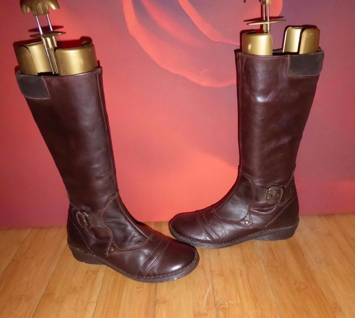 a51dd00f3aa45 SUPERB SEASIDE BROWN LEAHER STYLE WEDGE BOOTS UK 4 EU 37 5 RIDING ...