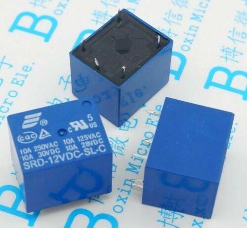 5pcs SRD-12VDC-SL-C 12VDC 10A 250V AC Power relay PCB Type T73-12V 5 feet SRD-12