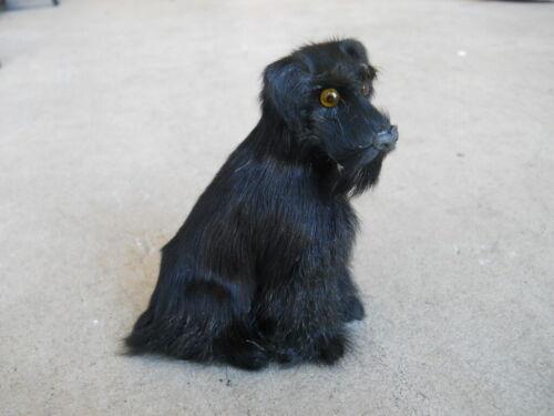 Black Schnauzer Dog Sitting Figurine Brown Soft /& Fluffy Real Fur Hard Plastic