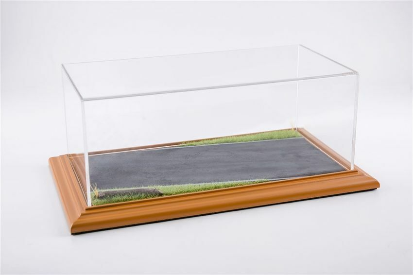 Display Case Country Road Diorama Cherry Wood 325x165x125 mm for 1 18 1 24 Model