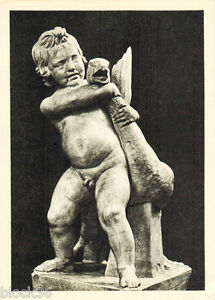 1956 Russian postcard Sculpture BOY STRANGLES A GOOSE by Boethus (XI cent b.c.)