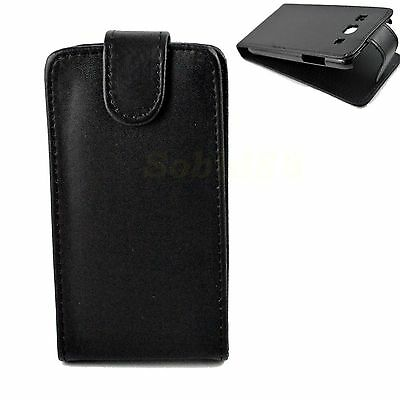 Black Leather Phone Pouch Case Cover For Samsung Galaxy Core Plus SM-G350 G3502