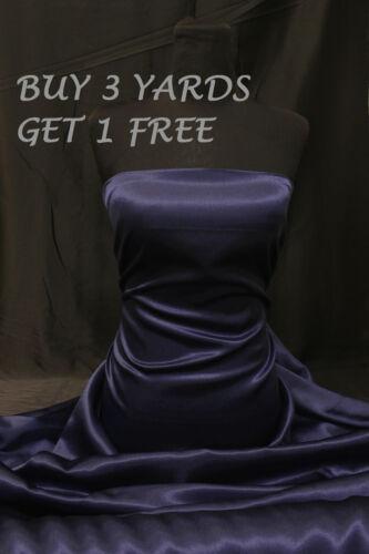 Dress-Making Fabric Material Heavy Satin Shiny Plain Navy Blue Crepe Backing