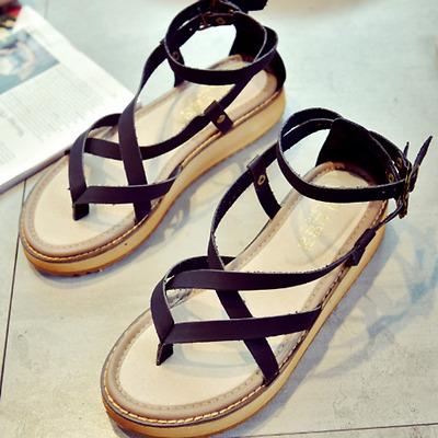 Fashion Women Ladies Flip Flops Leather Open Toe Platform Sandals Summer Shoes