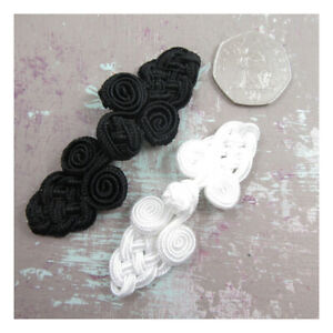 WEDDING-DRESS-FROG-KNOT-FASTENERS-BLACK-IVORY-SEW-ON-BUTTONS-HABERDASHERY