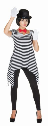 Rub Damen Kostüm Ringel Tunika schwarz-weiß Karneval Fasching