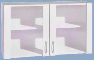 Details zu Glas-Hängeschrank FAVORIT in weiß BxH 100x56,5cm Küche Mehrzweck  Oberschrank