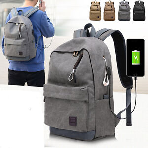 USB Charge Computer Bag Notebook Backpack 15//17 inch Laptop Bookbag Men Women