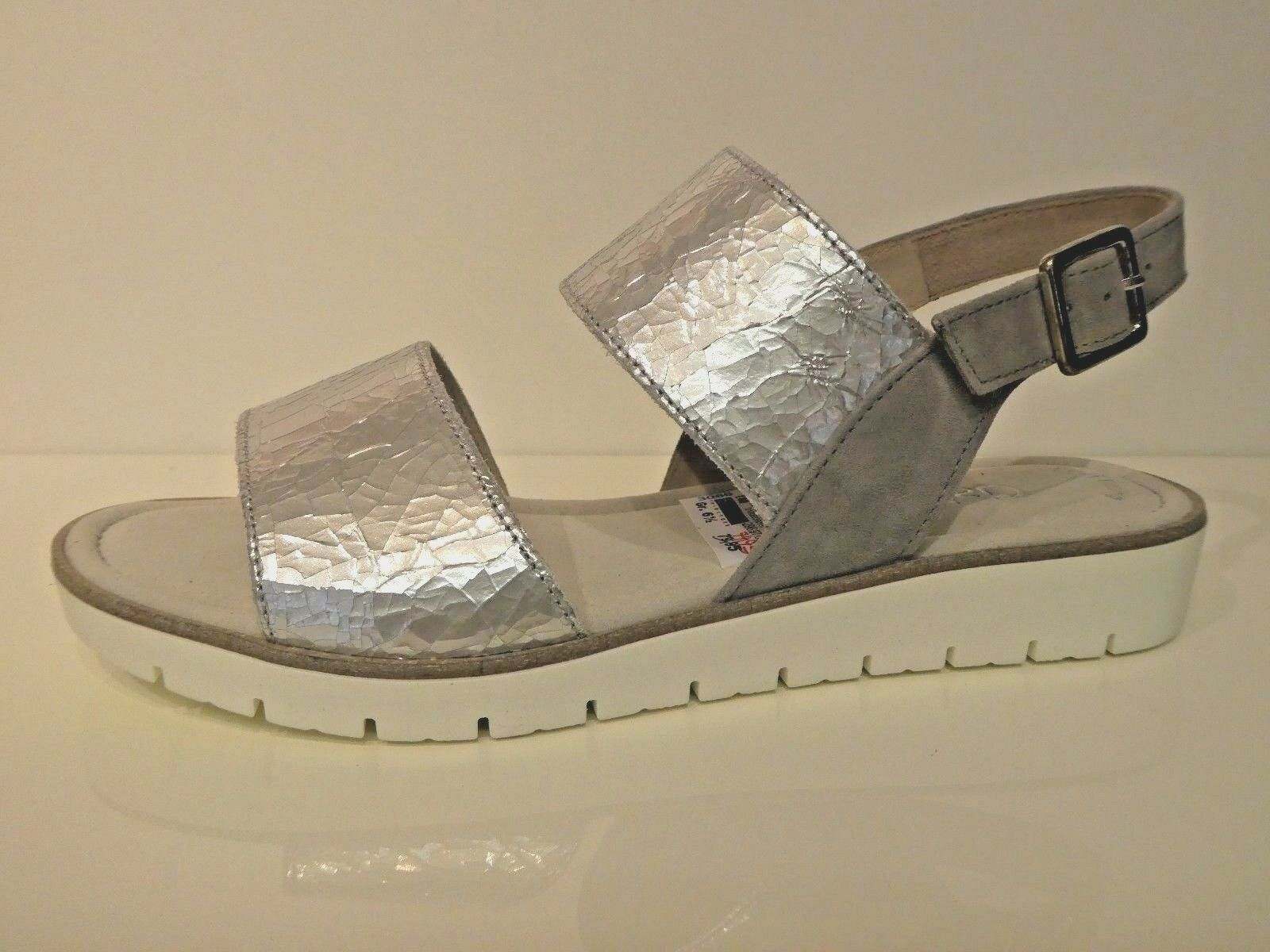 Gabor Schuhe Sandaletten Sandalen grau stone metallic Crash Leder Best Fitting