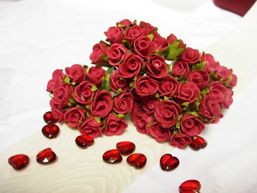 48 Rosen Foamrosen 2 cm Hochzeit f. Hochzeitsanstecker Tischdeko Streudeko