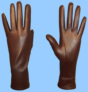 NEW-WOMENS-size-6-5-or-Small-GENUINE-BROWN-KID-LEATHER-CASHMERE-LINED-GLOVES