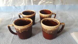 Vintage McCoy Kathy Kale Brown Drip Pottery Coffee Cups set of 4
