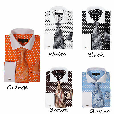 Style AH613 Men/'s Polka Dot Design French Cuf Dress Shirt with tie and hanky