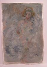 Lois Davis Abstract Nude Female Watercolor Paper Listed Indiana Artist 22 x 15
