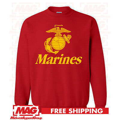 MARINES ARCHED CREW NECK Military Sweatshirt United States Semperfi USMC USA