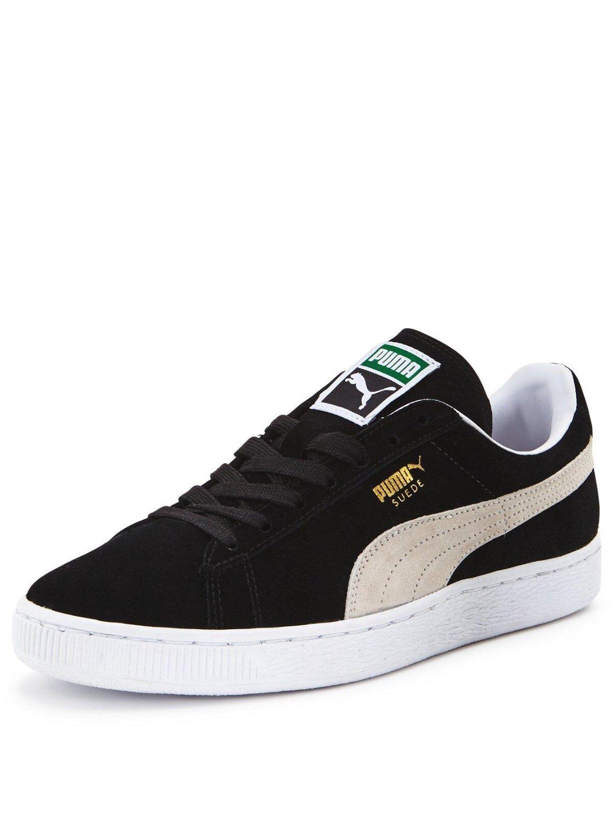 Puma Gamuza Clásico + Hombre damas Unisex Informal Negro Blanco Informal Unisex Zapatillas Zapatos De Gamuza 329e5b