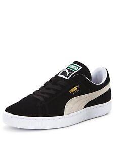 Puma-Suede-Classic-Mens-Ladies-Unisex-Suede-Black-White-Casual-Trainers-Shoes