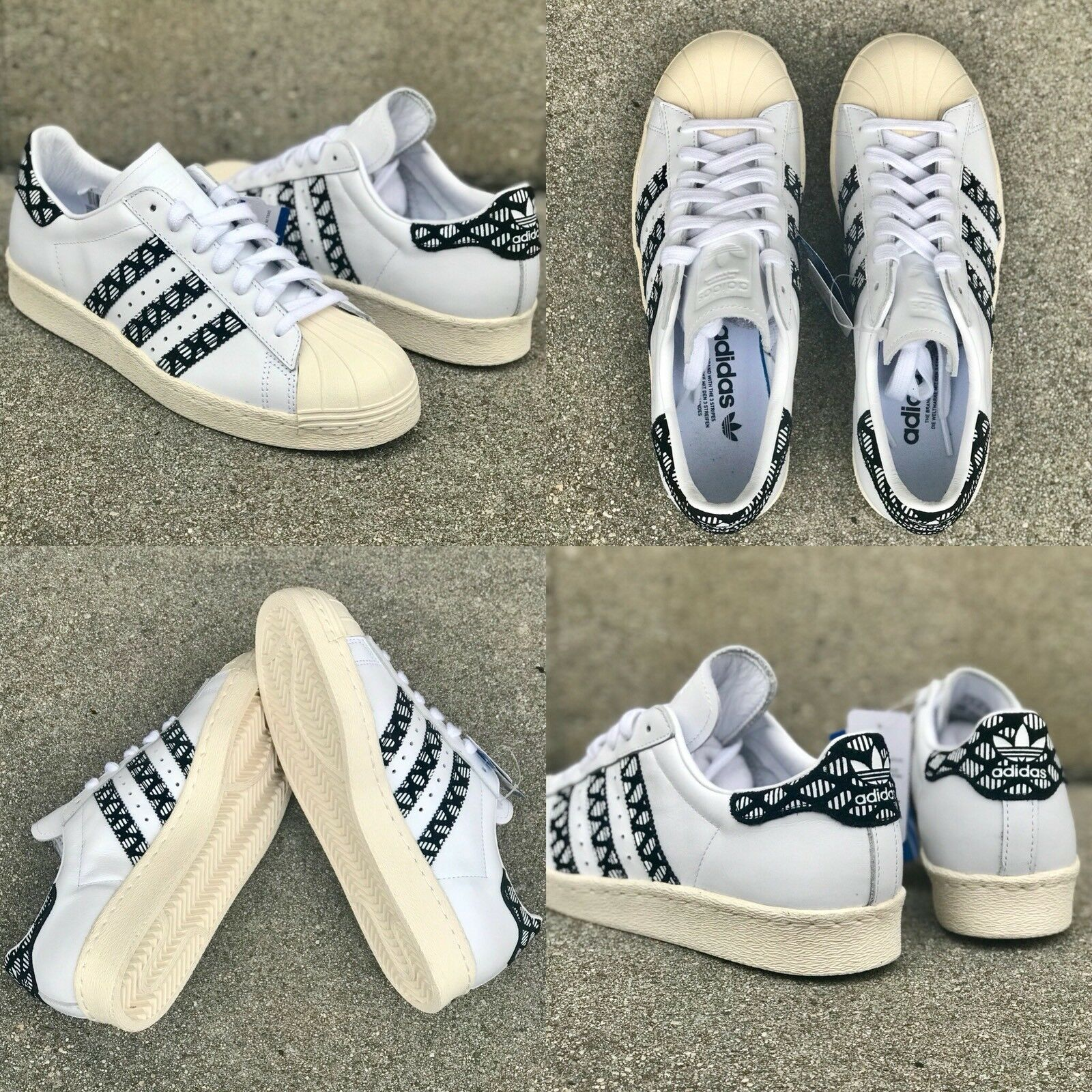 NWOB NEW WMNS SZ 8 ADIDAS SUPERSTAR 80'S LOW SNEAKERS SHOES WHITE BLACK BY9074
